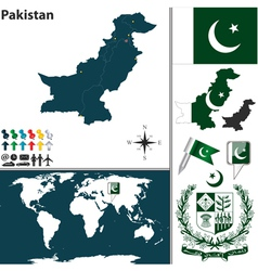 Pakistan map world vector image