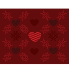 Red pattern with hearts vector image