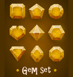 set of realistic yellow gems of various shapes vector image vector image
