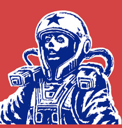 woman astronaut on red background vector image vector image