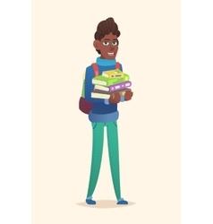 African school boy stack of books vector image