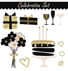 Celebration black and gold fashion birthday set vector image vector image