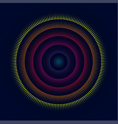 Colorful glowing concentric circles of dots vector