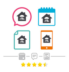 complete family home insurance icon vector image