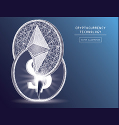 ethereum digital currency coin damage world vector image