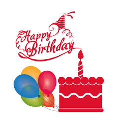 happy birthday cake candle balloons colored vector image