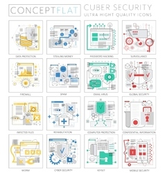 Infographics mini concept Cyber security icons for vector image vector image