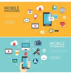 mobile application technology banner template vector image
