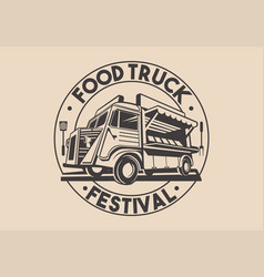 restaurant delivery service food truck logo vector image vector image