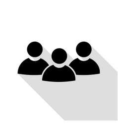 team work sign black icon with flat style shadow vector image