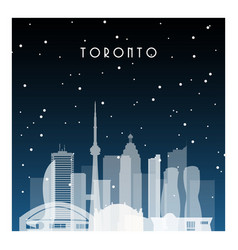 winter night in toronto night city in flat style vector image vector image