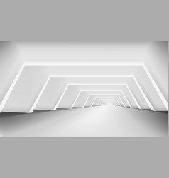 3d abstract white clear light corridor interior vector image