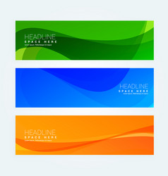abstract wavy set of three banners in different vector image