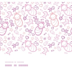 Baby girls horizontal border seamless pattern vector