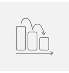 Bar chart down line icon vector