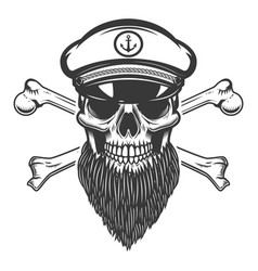 Bearded sea captain skull with crossbones design vector