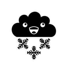 Beautiful fantasy cloud with snowflakes kawaii vector