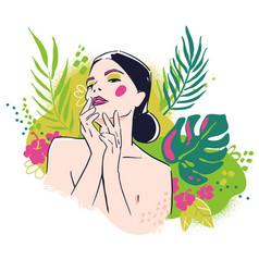 beauty portrait woman on floral background vector image