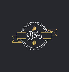 Beer cap logo craft beer stamp on black vector