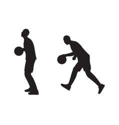 Black silhouette of basketball player with a ball vector