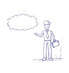 Business man ponder thinking cloud chat bubble vector