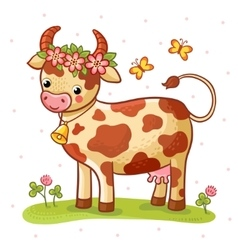 Cartoon cow that stands on a lawn with flowers vector