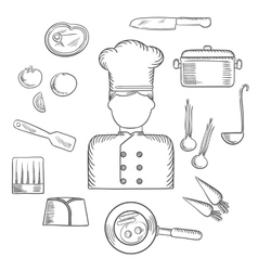 Chef with kitchen and food icons vector
