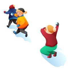 children playing snowballs cartoon vector image