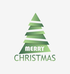 Christmas tree paper cut with shadow green vector