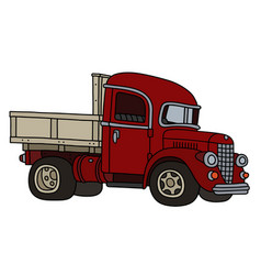Classic red lorry truck vector