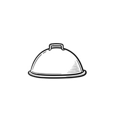 cloche with platter for serve hand drawn icon vector image