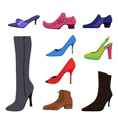 Colored flat lay man women shoes set vector