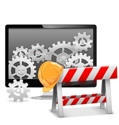 Computer Repair with Barrier vector image