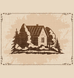 Country house among trees vector