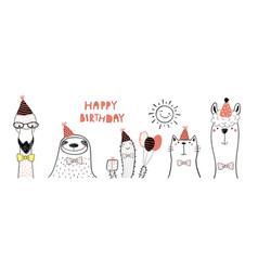 Cute animals birthday card vector