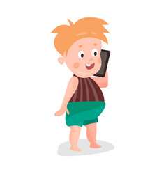 Cute cartoon redhead toddler boy playing with vector