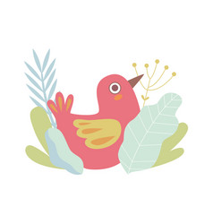 cute little red nesting bird symbol of spring vector image