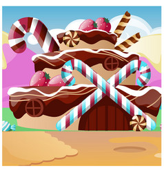 cute poster with a cake in the shape of a house vector image