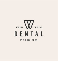 dental tooth hipster vintage logo icon vector image