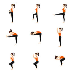 Eagle sequence and balancing yoga asanas set vector