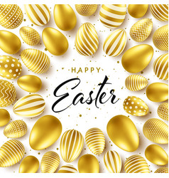 easter background with realistic golden eggs vector image