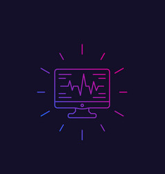Ecg heart diagnostics icon linear style vector