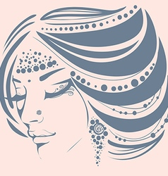 Exotic face girl decorated with ornaments vector