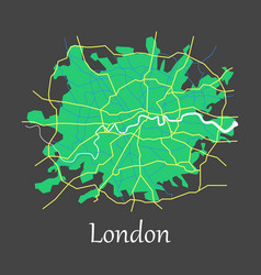 Flat color map of london united kingdom city plan vector