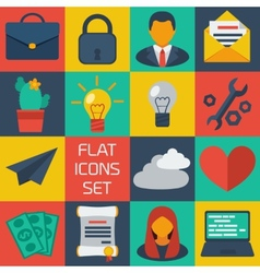 Flat colorful icons set vector