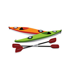 Flat of two kayaks with oars on shore vector