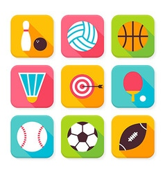 Flat Sport and Recreation Squared App Icons Set vector