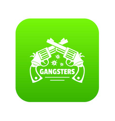 Gangsters icon green vector