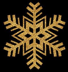 Gold glittering christmas snowflake vector