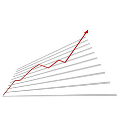 Graph with red arrow up vector
